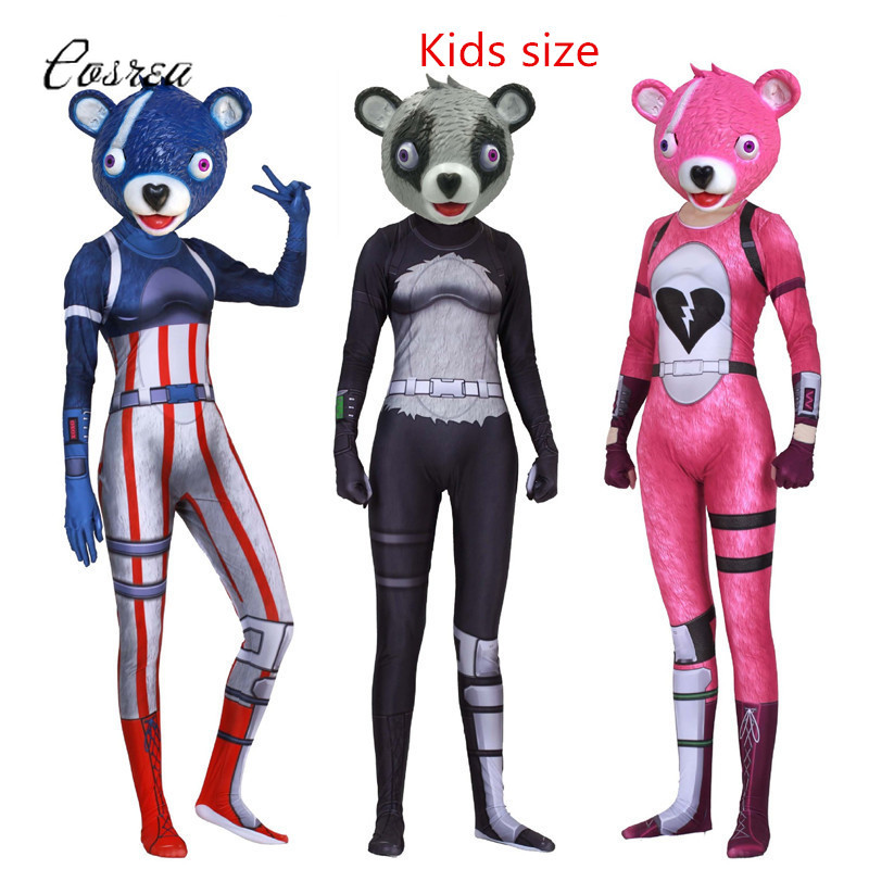 Kids Fortnight Onesie Kids Bodysuits One-piece Spandex Catsuit Bear Team Leader Cosplay Mask Full Face Zentai Halloween Costume