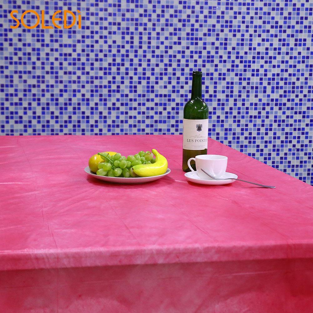 SOLEDI 20 цветов мягкий настольный бегун скатерть пластиковые товары для дома одноразовая скатерть для стола украшение стола - Цвет: rose red