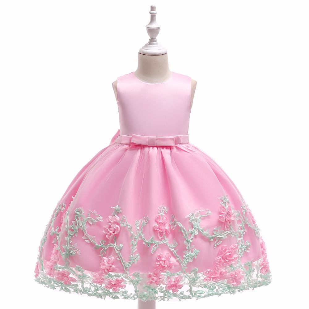 2019   Flower     Girl     Dresses   For Weddings Ball Gown Cap Sleeves Satin Ruffles Long First Communion   Dresses   For Little   Girls