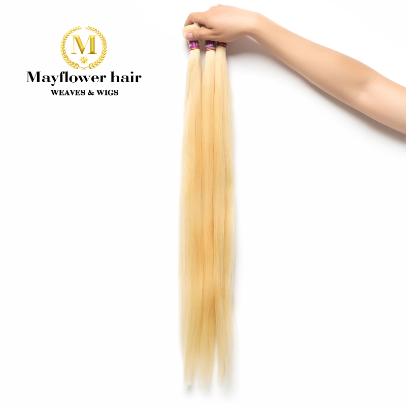 MFH Blonde 613 Virgin Malaysian straight hair weft 1/2/3/4 bundles 12-28 mixed length durable hair can be restyle Free shipping image