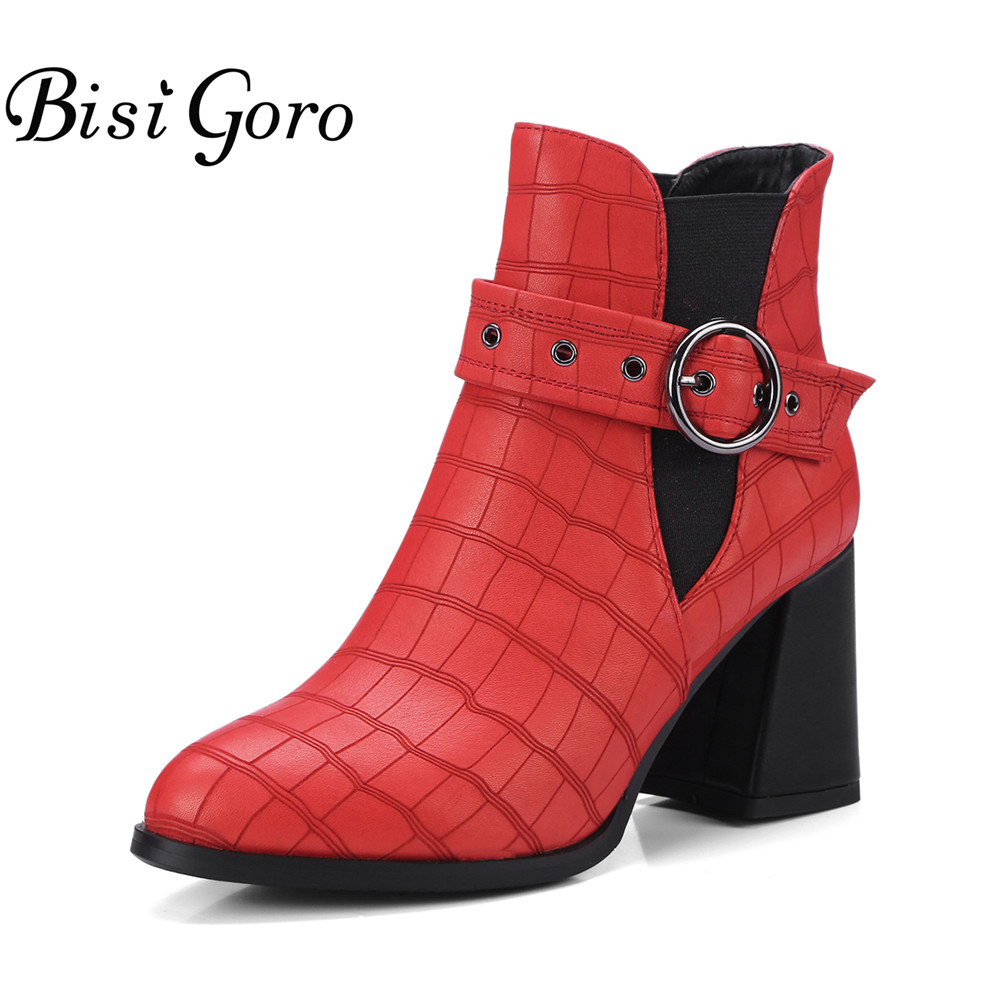 BISI GORO Fashion Women Ankle Boots Heels Autumn Leather Boots Shoes Woman Buckle Ladies High Thick Heel Black Red Boots 2017 цены онлайн
