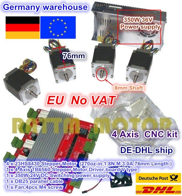 EU.RU 4 Axis CNC controller kit 4pcs NEMA23 stepper motor 270 oz-in 3A & 4 Axis TB6560 Driver board & 350W 24V power supply new high quality cnc 3 axis tb6560 stepper motor driver board control pad lcd set hy tb3 kh