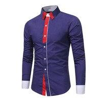 Mor Patchwork Gömlek Olgun Adam Zarif Akşam Yemeği Parti Gömlek Iş Rahat Giymek Ofis Blusa İngiltere Stil 3XL Tops Yeni 2018