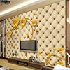 Beibehang Large Scale Custom High Grade Leather Soft Package Gold Rose Living Room TV Sofa Background