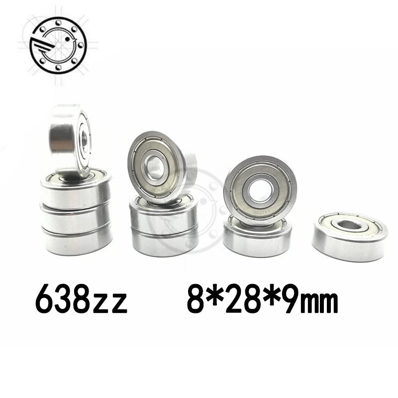 Free shipping 10pcs/lot Factory direct sale 638 638ZZ 638Z 638-2Z 80038 8*28*9 mm High quality deep groove ball bearing 8x28x9mm