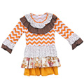 Free Shipping 2016 Girls Boutique Clothing Baby Dress Ruffled Collar Chevron Cotton Multilayer Spring Kids Fashion Frocks CX002