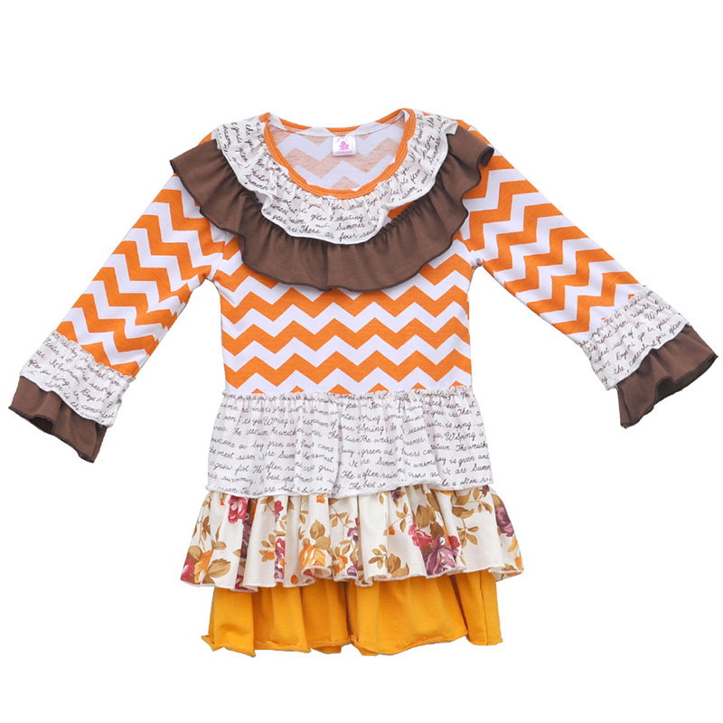 Free Shipping 2016 Girls Boutique Clothing Dress Ruffled Collar Chevron Cotton Multilayer Spring Kids Fashion Frocks CX002