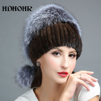 HDHOHR 2018 Fashion Winter Real Fur Hat Women Real Mink Fur Hat With Silver Fox Fur Knitted Beanies New Women Fur Caps