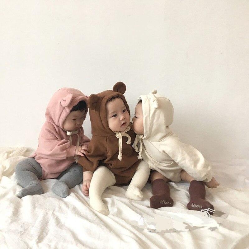 Baby Cute Little Bear Ears Plus Velvet Clothing Baby Girl Clothes Children Pink Bodysuit Baby