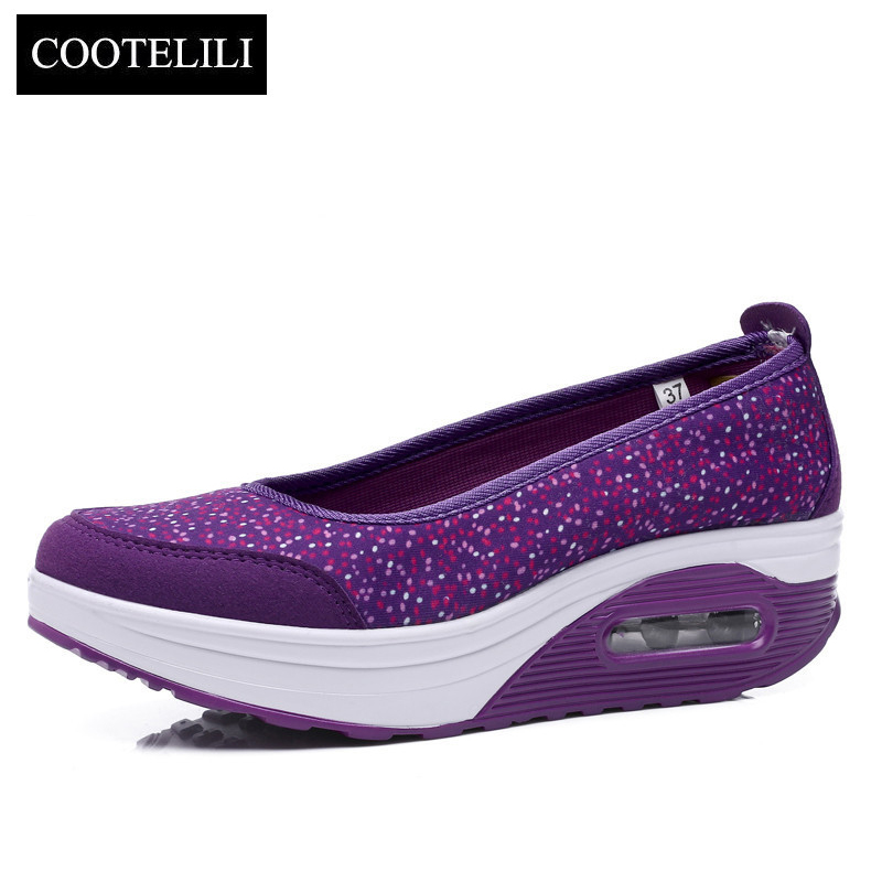COOTELILI Spring Women Wedges Platforms Sneakers Dot Loafers Round Toe Air Cushion Heels Slip-On Pumps Casual Shoes Woman