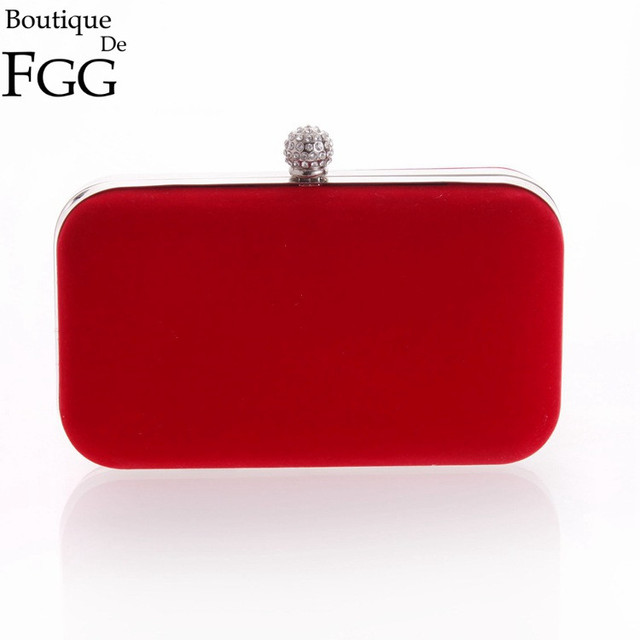 Dazzling Women's Crystal Red Velvet Evening Bags For Bridal Handbag Clutch Wedding Party Dinner Banquet Hard Cace Metal Clutches