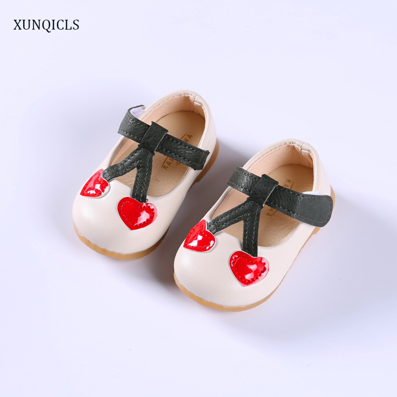 XUNQICLS Spring Autumn Toddler Baby Cribe Shoes PU Cute Girls Princess Shoes Cherry Infants Soft Firstwalkers Kids Sneakers m
