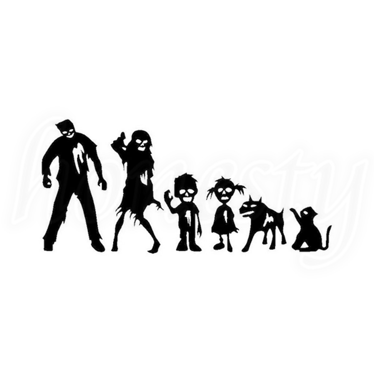 Funny Zombie Family Laptop Window Glass Decor Wall Decal Vinyl Car Sticker Black Bumper Home Auto Gift New