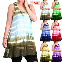 Summer Women Fashion Lace Splicing Sleeveless Tie-dyed Plus Size Loose Tank Tops fashionable lace up u neck tie dyed sleeveless dress for women