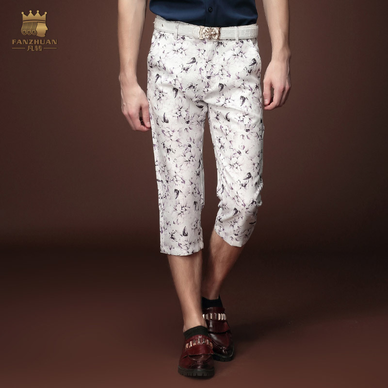 Free Shipping fashion casual Men's New ninth fashion pants men Floral Summer Youth slim thin male pants 15923 on sale