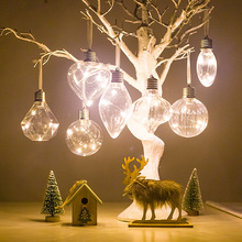 Christmas Tree PET Ornaments Hanging Bulb Ball Home Party wedding Decoration Simulation Light Lighting Pendant
