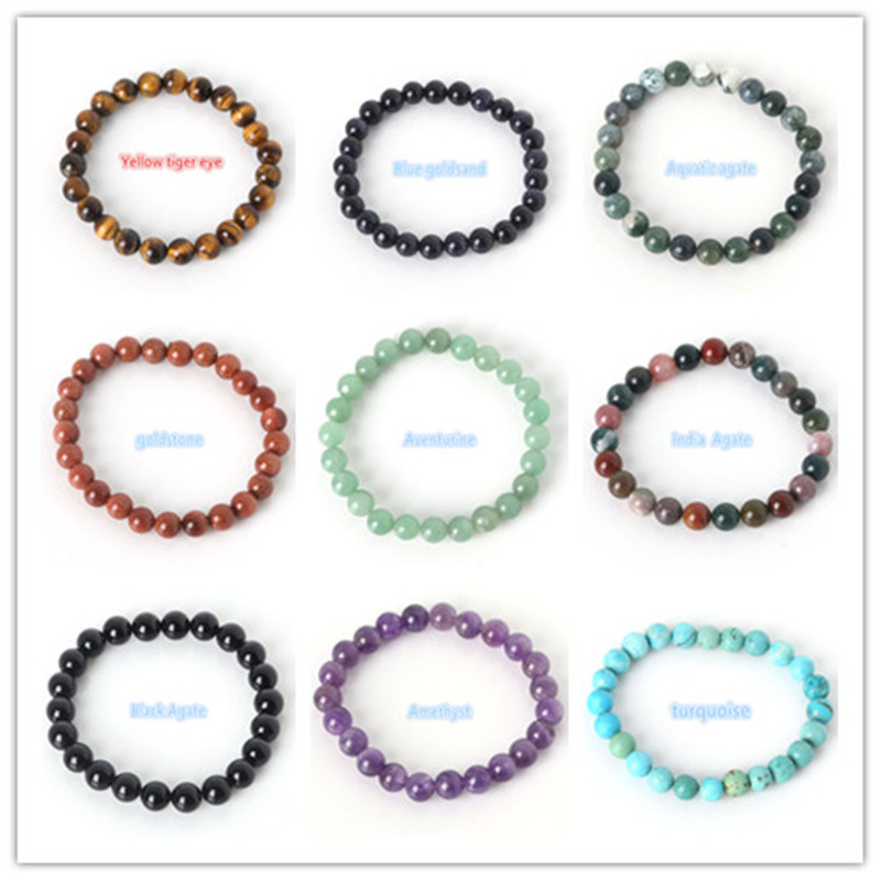 2018 Fashion Natural Stone Bracelets For Women Men Tiger Eyes Rose Quartzs Amethyst Agate Bead Yoga Bracelets Pulseira Masculina