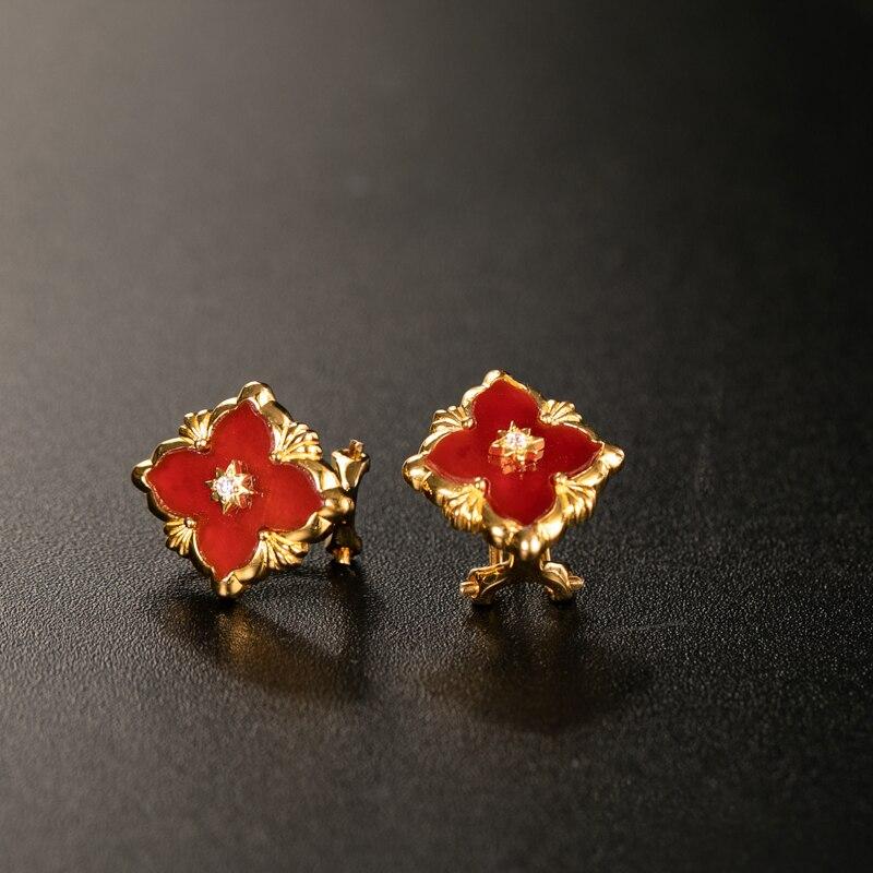 925 argent Zircon oreille goujon bijoux femmes cour européenne style vintage - 2