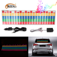 OKEEN 90*25cm Car Led Music Sticker Flash Rhythm Atmosphere Led Lights Colorful Yellow Blue Green Pink Sound Activated Equalizer