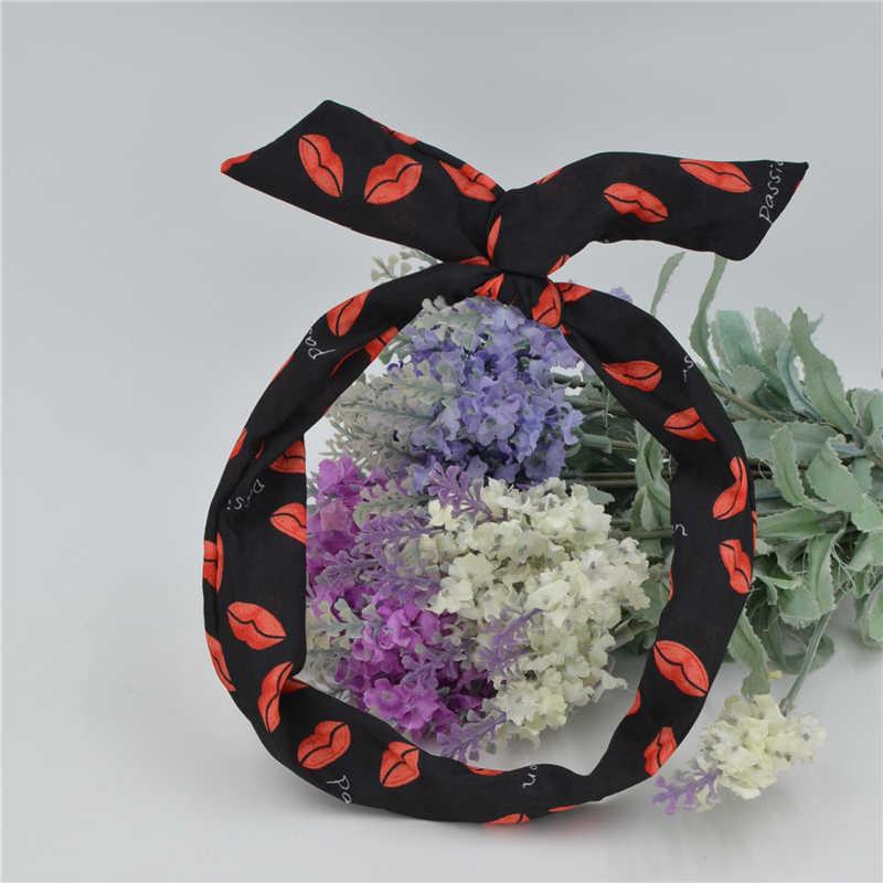 New Girls Korean Pattern Bunny Rabbit Ear Ribbon Headwear Hairband Metal Wire Scarf Headband Women Hair Ornaments Headband