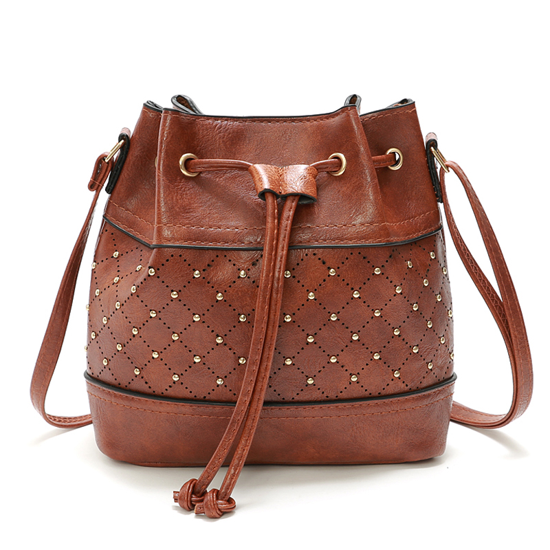 Summer Small Rivet Women Messenger Bags Handbags Women s PU Leather Bucket Crossbody Shoulder Bag Bolsos Mujer
