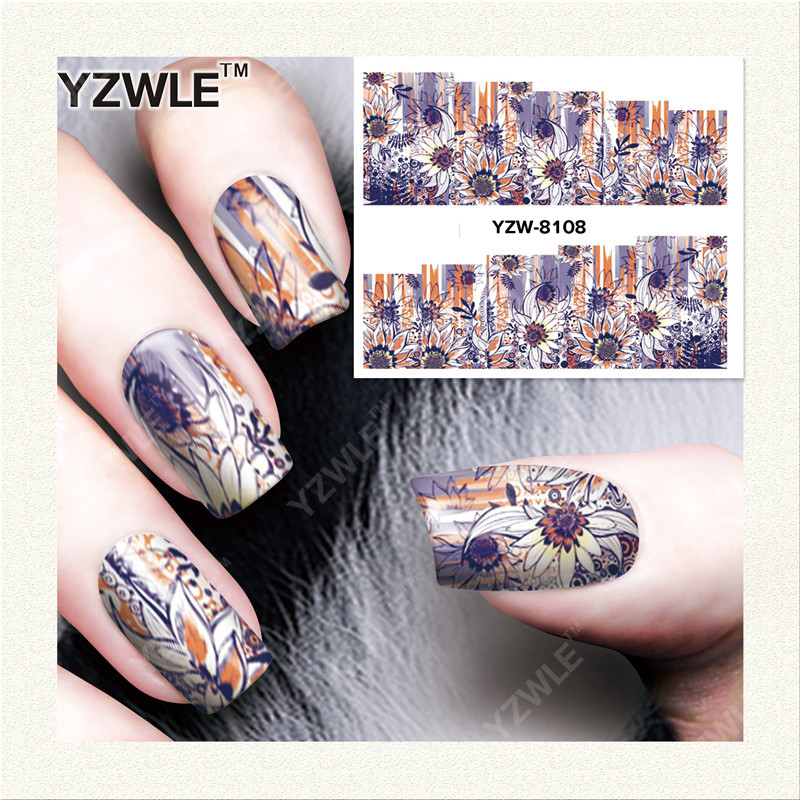 YZWLE 1 Sheet DIY Decals Nails Art Water Transfer Printing Stickers Accessories For Manicure Salon YZW-8108 yzwle 1 sheet hot gold 3d nail art stickers diy nail decorations decals foils wraps manicure styling tools yzw 6015