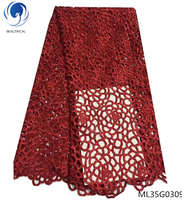 BEAUTIFICAL african red guipure laces fabrics black cord lace 2019 water soluble laces dress for women 5yards/lot ML25G14