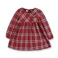 Muchachas Del Otoño del resorte Niñas Casuales Ropa de Algodón A Cuadros de Color Rojo de Manga Larga Vestidos Para Las Niñas Vestido de Algodón Barato de 10 años de edad