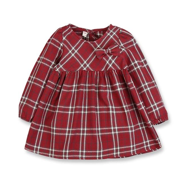 130a2c5a84cd0 Printemps automne filles robes décontracté filles vêtements coton rouge  Plaid à manches longues robes pour filles