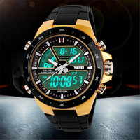 New 2014 Men Sports Watch Quartz LED Dual Movt Day Date Design Round Dial Steel Watch