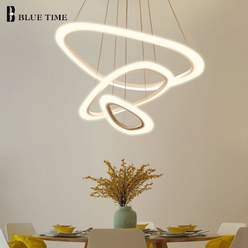 Ceiling Lights & Fans Responsible New Led Pendant Lights For Dining Room Living Room White&black&coffee Rings Acrylic Modern Led Pendant Lamp Hanging Lamp Fixture Elegant Appearance