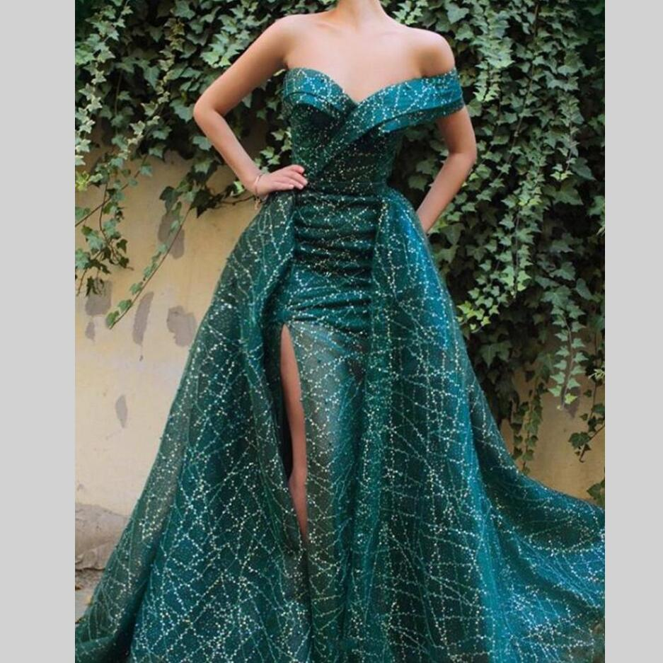 Glitter Long   Evening     Dresses   2 Pieces Turkish Dubai Women Formal Gown For Prom Wedding Party   Dresses   Robe De Soiree