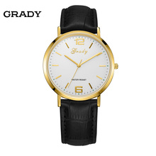 Grady moda reloj de cuero de los hombres de los hombres relojes hombres marca de lujo envío libre delgado de los hombres de pulsera de cuarzo resistente al agua