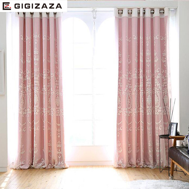 Online Shop Torisa double layer embroidery curtain ivory color ...