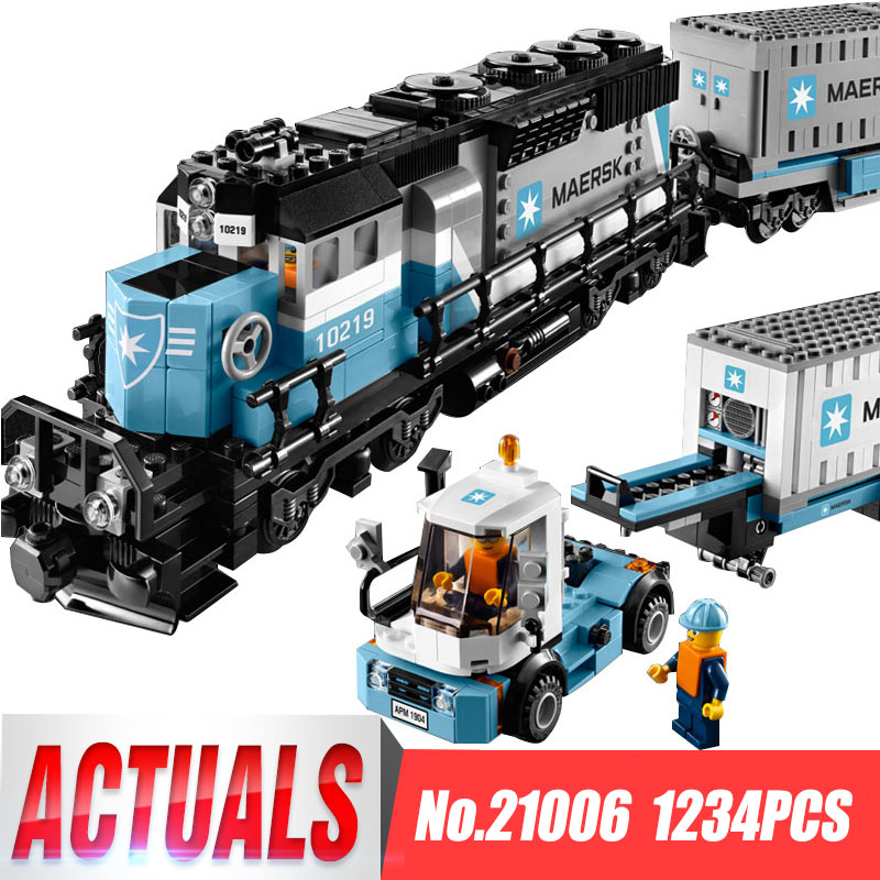 Lepin 21006 Genuine Technic Ultimate Series The Maersk Train Set Building Blocks Bricks Educational Children Toys legoing 10219 lepin 22002 1518pcs the maersk cargo container ship set educational building blocks bricks model toys compatible legoed 10241