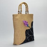 Fashion Chinese style bag vintage cotton linen shoulder bag handbag bamboo bag large capacity shopping bag