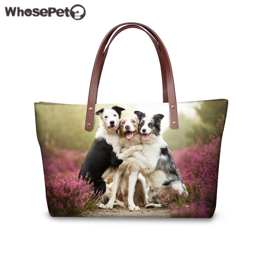 WHOSEPET Women Handbag Top-handle Bag Border Collie Printing Shoulder Bag for Shopping Ladies Beach Bags Female Tote Bolsa Sac
