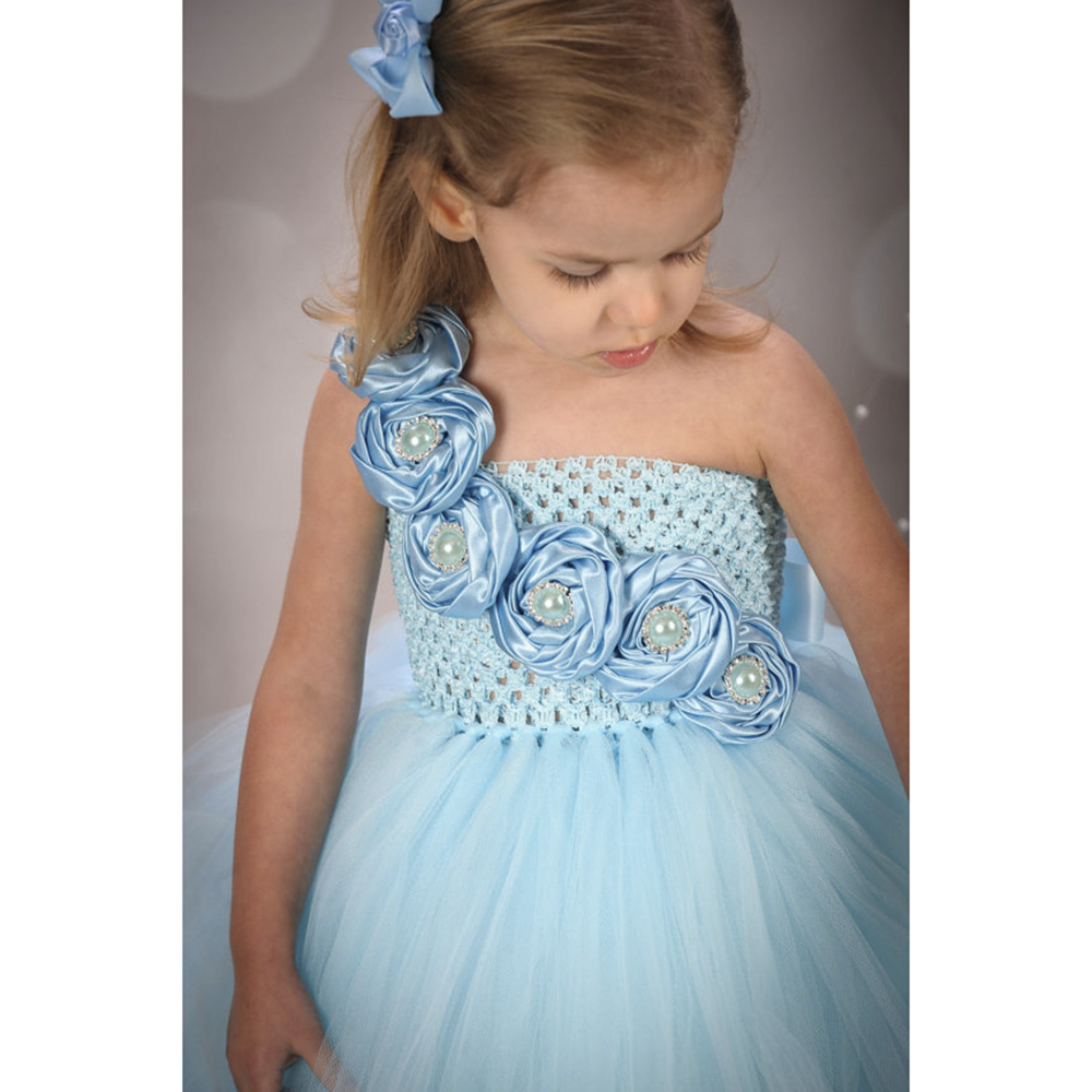 New Design Cute Blue Flower Girls Dresses for Wedding Rose Flower ...
