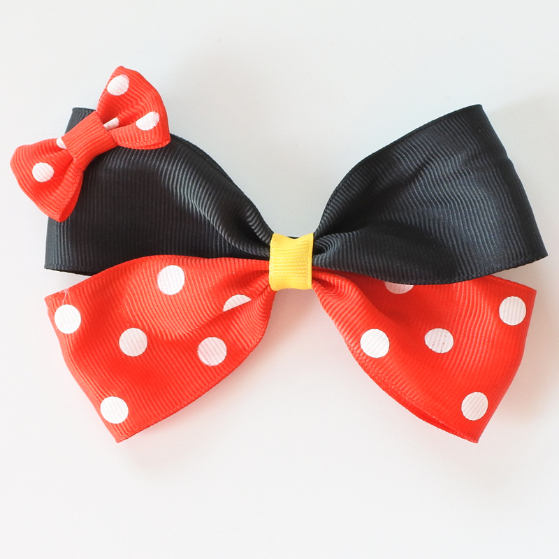 Two Layer Polka Dots Hair Bows For Girls Minnie Hair Clips Cartoon Women Barrettes Hair  ...