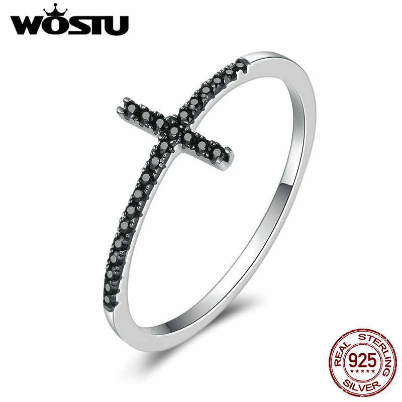 WOSTU  100% Pure 925 Sterling Silver Belief Cross Finger Rings With Black Zirconia Stone For Women Party Gift Jewelry CQR067