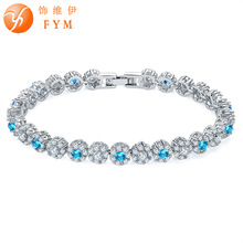 FYM Brand 6 colors Luxury Silver color Round Chain Link Bracelet for Women Ladies Shining AAA Cubic Zircon Crystal Jewelry fym 6 colors link