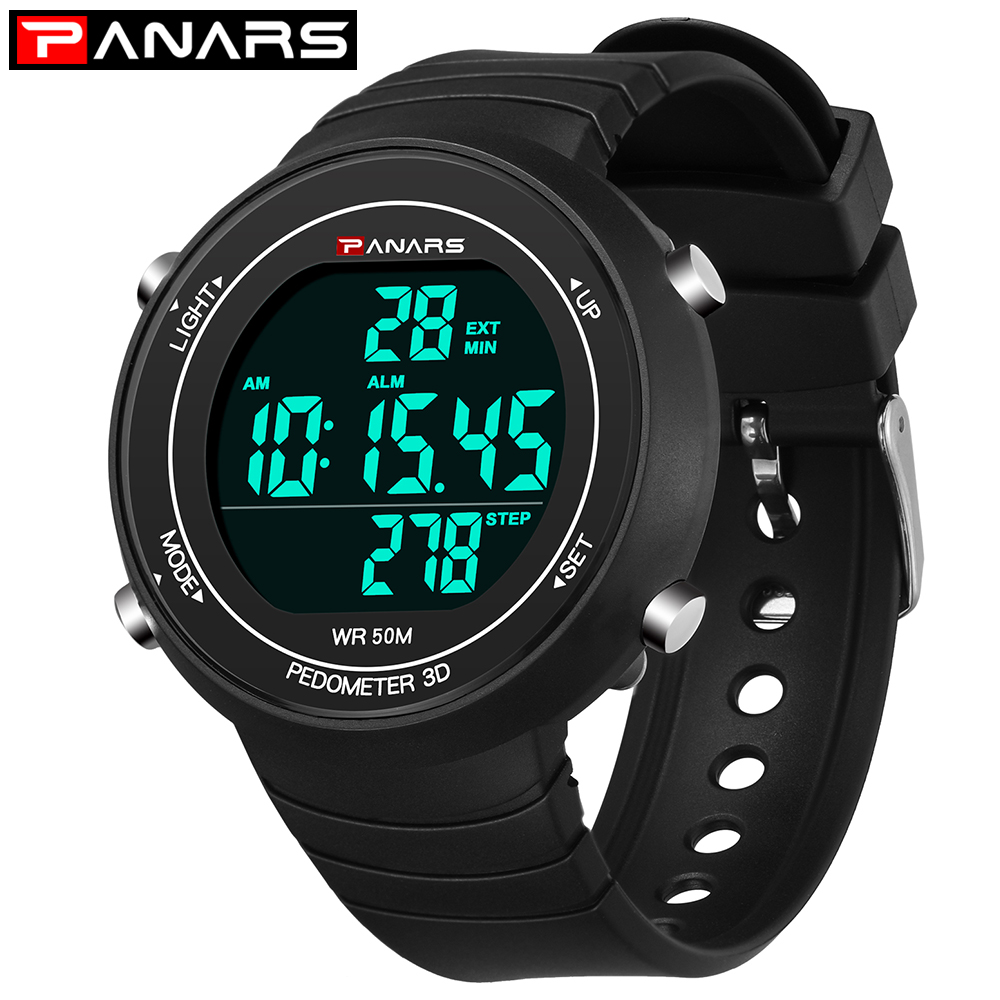 PANARS Luxury Sports Watch Men Digital Wrist Watches Military Silicone Strap Army Sport LED Watch Men Relogio Masculino 2018 red led watch men silicone wrist watch