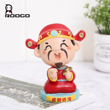 Roogo Shaking Head Figurines God of Wealth Car Decoration Feng Shui Home Decorative Ornaments Cute Desktop Decor For Office
