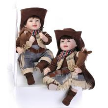 Nicery 22inch 55cm Lifelike Reborn Baby Lovely Girl Doll High Vinyl Christmas Toy Gift for Children Smile Cowboy and Cowgirl