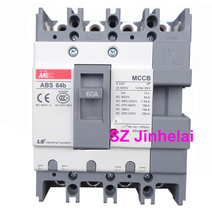 ABS64b Authentic original ABS 64b LS Molded case circuit breaker ABS-64B Air switch 4P 60A cm1 400 3300 mccb 200a 250a 315a 350a 400a molded case circuit breaker cm1 400 moulded case circuit breaker