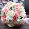 De noiva Bouquet de Casamento com Fita Handmade 30 pcs PE Rosas buque de noiva Flores Do Casamento Buquês De Noiva Roxo Frete Grátis