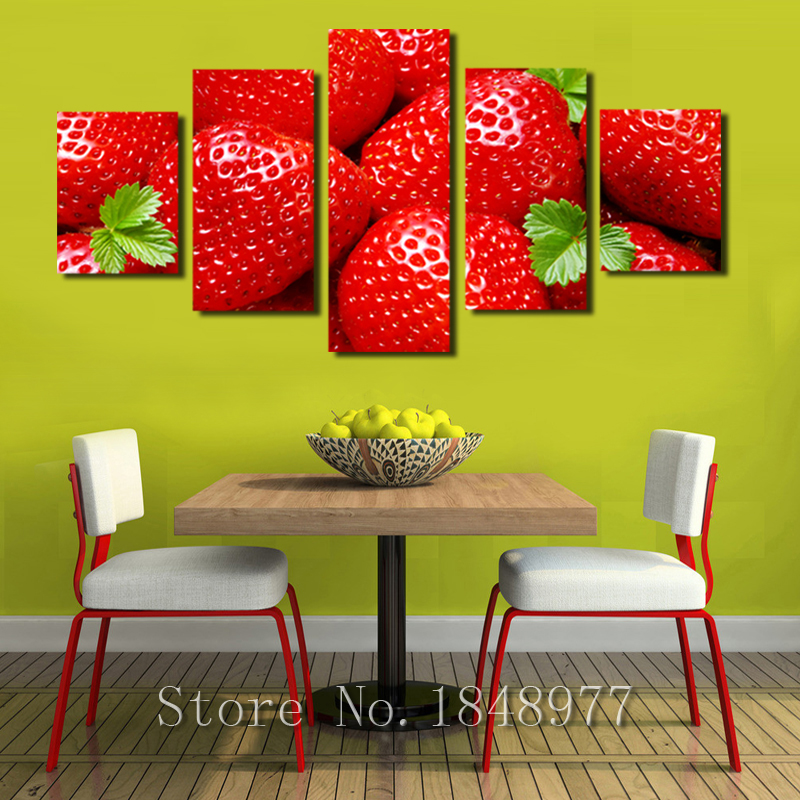 5 Piece Large Modern Home Painting Kitchen Wall Decor Red Strawberry ...