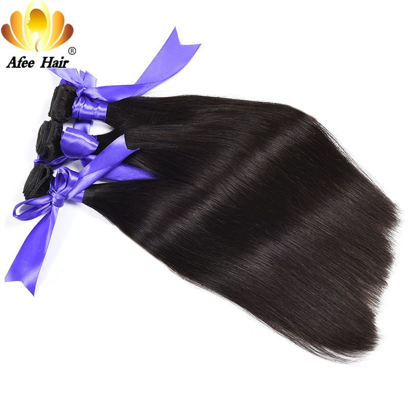 Ali Afee Brazilian Straight Human Hair Bundles Natural Black 1Pc Non Remy Hair Extension Can Buy 3 or 4 Bundles With Closure