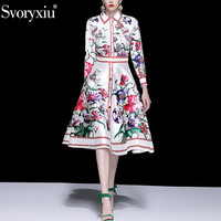 Svoryxiu Women's Elegant Flower Print Party Skirt Suit Fashion Office Lady Clothes Set Spring Summer Runway Two Piece Set Female