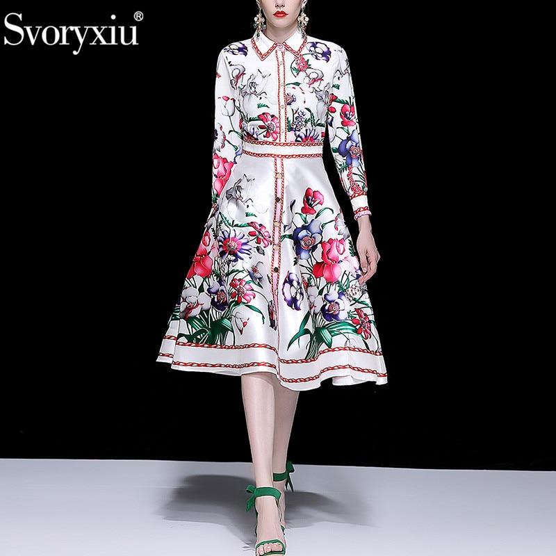 Svoryxiu 女性のエレガントな花のプリントパーティースーツファッションオフィスの女性の服セット春夏滑走ツーピースセット女性  グループ上の レディース衣服 からの レディースセット の中 1